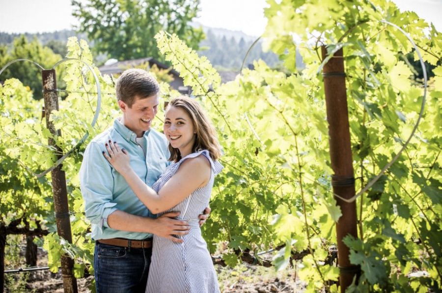 Churchill+and+Rodgers+at+a+vineyard+for+their+engagement+photos.+Photo+courtesy+of+Christophe+Genty.