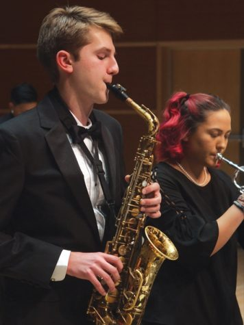 Left to right: Truman Chancy, '22, and Leslie Sparling, '22, perform with the jazz ensemble. Photo courtesy of the Lenfest Center for the Arts.