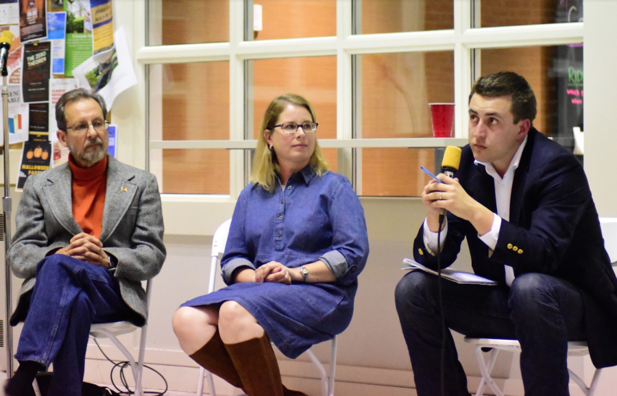 Billy Eli Fisher (left), Christian Worth (middle) and Elliot Harding (right) speak during the candidate forum. Photo by Lilah Kimble, '23.