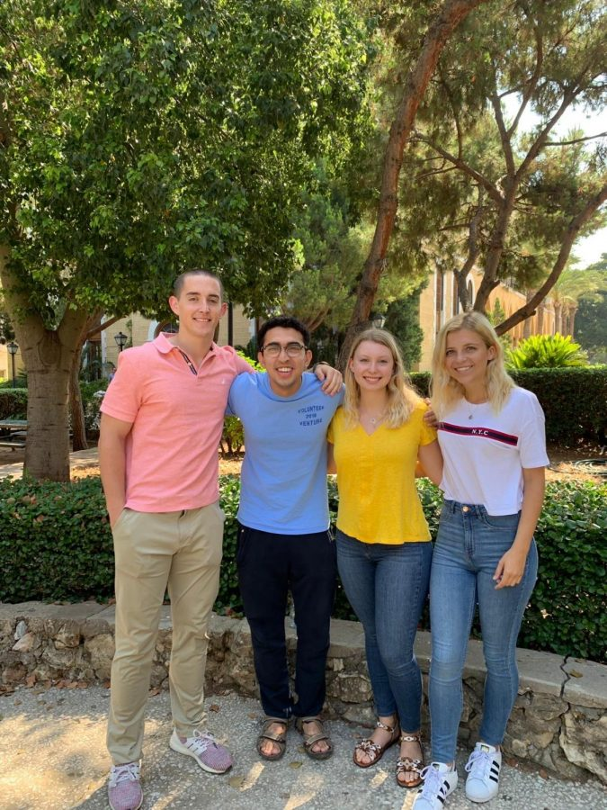 Tanner Hall, '21, Rafay Hassan, '22, Anne Riter, '22, and Lauren Fredericks, '20, studied Arabic at the American University of Beirut this summer. Photo courtesy of Lauren Fredericks.
