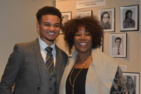 Garrett Clinton, '20, poses with Ruby Bridges after he read an introduction for her keynote address on Jan. 19. Photo by Hannah Denham.