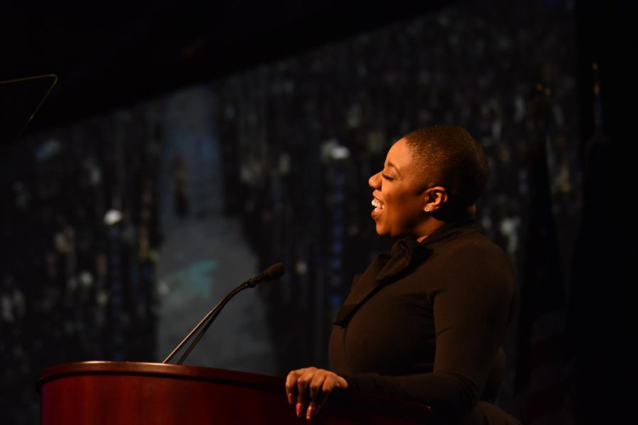 Symone Sanders, senior advisor to Joe Biden's presidential campaign, kicked off Mock Convention 2020's slew of speakers. Photo by Lilah Kimble.