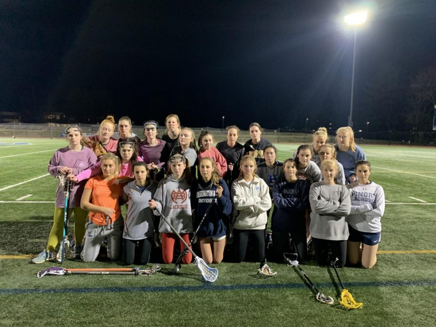 The+women%E2%80%99s+club+lacrosse+team+at+their+first+practice.+Photo+courtesy+of+Mary+Wilson+Grist.