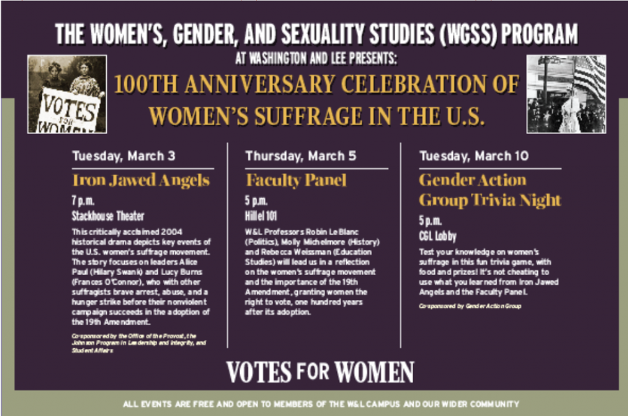 The flier shared by the Women's, Gender and Sexuality Studies program describing the events to celebrate women's suffrage. Photo courtesy of the Women's, Gender, and Sexuality Studies Program.