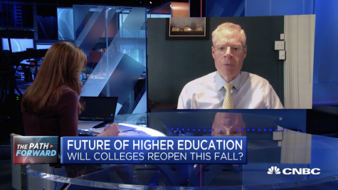 Washington and Lee University President Will Dudley was interviewed by Kelly Evans, '07, on CNBC on Wednesday, May 13. Screenshot of the interview.