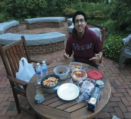 Rafay Hassan, '22, enjoys iftar with Assistant Professor of Arabic Antoine Edwards (not pictured) on Sunday, May 17. Photo courtesy of Hassan.
