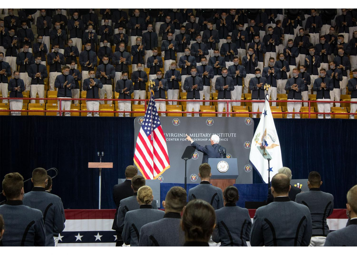 Pence greeted VMI cadets before his speech. Photo by Jin Ni,