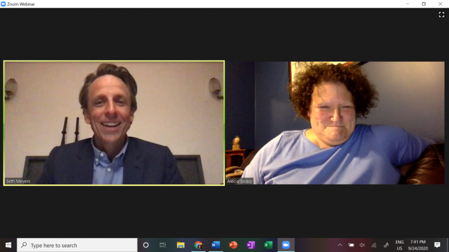 Business Journalism Professor Alecia Swasy moderated the Zoom discussion with Seth Meyers, which was hosted by the Contact Committee and General Activites Board