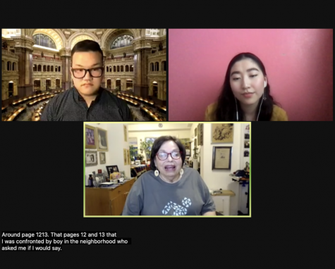 Photo taken during the webinar. Roberts is top left, Xia is top right, and Heumann is center.