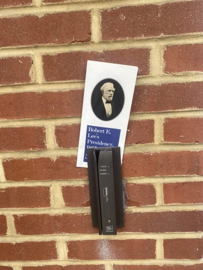Students find pamphlets about Robert E. Lee's legacy around campus. Photo by Avalon Pernell, '23.