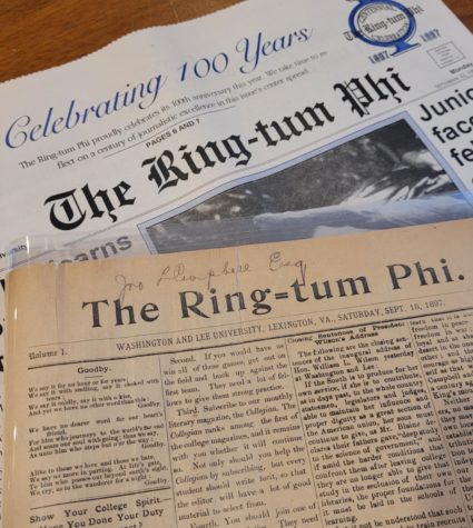 Both the first edition (front) and the centennial edition (back) of the Ring-tum Phi are shown here. The first issue was released Sept. 18, 1897.