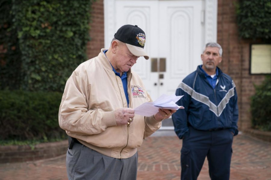 Burns reads a Veterans Day prayer at the annual Veterans Day event on campus. Photo courtesy of The Columns.