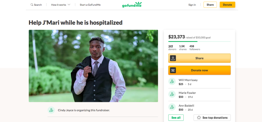 A GoFundMe page, started by Lowman's high school coach's wife, has raised over $23,000. Screenshot courtesy of Brianna Hatch, 23.